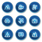 Travel web icons set 1, blue circle buttons Royalty Free Stock Photos