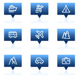 Travel web icons set 1, blue speech bubbles series Stock Images