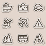 Travel web icons set 1, brown contour sticker. Vector web icons set. Easy to edit, scale and colorize vector illustration