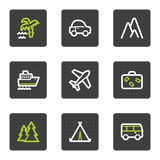 Travel web icons set 1, grey square buttons series. Vector web icons set. Easy to edit, scale and colorize vector illustration