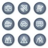 Travel web icons set 1, mineral circle buttons Royalty Free Stock Photos