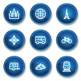 Travel web icons set 2, blue circle buttons Stock Photography