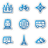 Travel web icons set 2, blue contour sticker Stock Photos
