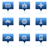 Travel  web icons set 2, blue speech bubbles Royalty Free Stock Photography