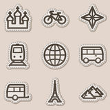 Travel web icons set 2, brown contour sticker. Vector web icons set. Easy to edit, scale and colorize royalty free illustration