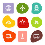 Travel web icons set 2, colour spots series Stock Photos