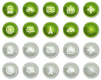 Travel web icons set 2, green circle buttons Royalty Free Stock Photos