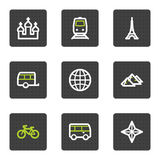 Travel web icons set 2, grey square buttons series. Vector web icons set. Easy to edit, scale and colorize royalty free illustration