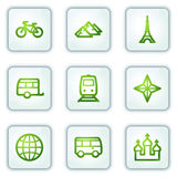 Travel web icons set 2, white square buttons Royalty Free Stock Photo
