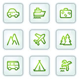 Travel web icons, white square buttons series Stock Photography
