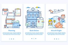 Travel web infographic.Website illustration. Plan your vacation.Modern blue interface UX UI GUI screen template for Royalty Free Stock Photos