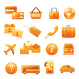 Travel Website Icons. 16 individually grouped travel website related icons Royalty Free Stock Photos