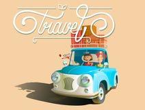 Travel  on white background. Happy family rides in the car. Travel  on white background. Vector illustration. Happy family rides in the car Royalty Free Stock Photo