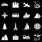 Travel white web icons. Vector web icons, white series Stock Images