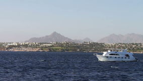 Travel white yachts swaying in the waves. Travel white yachts swaying in the waves of the Red Sea ship moored on the picturesque coastline against in the stock video footage