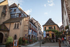 Travel wine route in France. La route des vins. Stock Photos