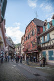 Travel wine route in France. La route des vins. Royalty Free Stock Images