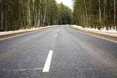 Travel in a winter season. Road through forest in a winter season Royalty Free Stock Photography