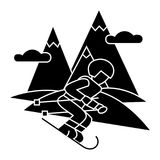 Travel winter, skier skiing high mountains  icon, vector illustration, sign on isolated background Stock Photography
