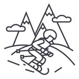 Travel winter,skier skiing in high mountains vector line icon, sign, illustration on background, editable strokes royalty free illustration