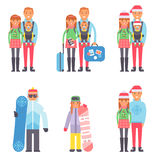 Travel winter vacation time people couples vector illustration. Travel couple winter vacation time with suitcases ready to travel, people travel concept. Vector Royalty Free Stock Photography