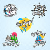 Travel wishes and greetings set. Vector illustration for touristic greeting cards, brochures, posters. Travel wishes and greetings set. Vector illustration for royalty free illustration