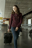Travel woman in airport stock photos