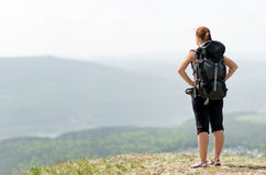 Young hiker on the hilltop Royalty Free Stock Images