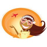 Travel woman with heartshaped glasses and airplane Royalty Free Stock Image