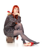 Travel Woman Waiting Royalty Free Stock Image