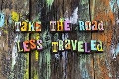 Travel wonder explore road trip excitement wander enjoy. Typography artist background illustration take less traveled exploration world faith love positive stock photography