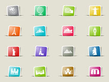Travel and wonders icon set Stock Photography