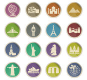 Travel and wonders icon set Royalty Free Stock Photography