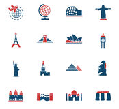 Travel and wonders icon set Royalty Free Stock Photos