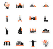 Travel and wonders icon set Royalty Free Stock Image