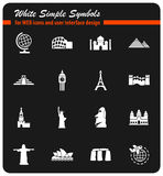 Travel and wonders icon set Stock Image