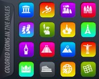 Travel and Wonders icons set vector illustration