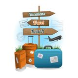 Travel wood sign background concept Royalty Free Stock Photo