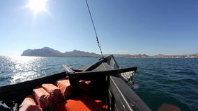 Travel by wooden boat. To land stock video