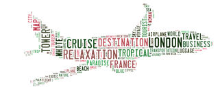 Travel word cloud in aircraft shape vector illustration