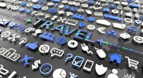 `travel` word with 3d icons. Over black background royalty free stock image