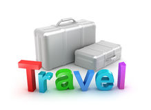 Travel word and suitcases. 3D concept Royalty Free Stock Photo