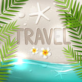 Travel word on tropical beach Royalty Free Stock Photography