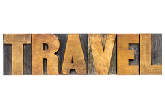 Travel word typography in wood type Royalty Free Stock Photo