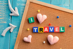 Travel word in wood box travel concept Stock Image