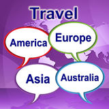Travel Words Represents Journeys Expedition And Traveller Stock Photo