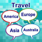Travel Words Shows Traveller Travelled And Travels. Travel Words Representing Travels Explore And Tours Royalty Free Stock Photo