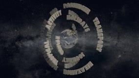 Travel words turning around earth globe stock footage