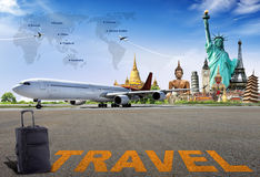 Travel the world. By airplane concept stock photo