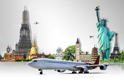 Travel the world. Background concept by airplane Royalty Free Stock Images